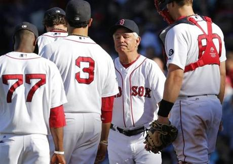 Valentine removed Clay Buchholz from the game after he allowed a go-ahead sacrifice fly in the ninth inning of a 4-3 loss to Toronto.